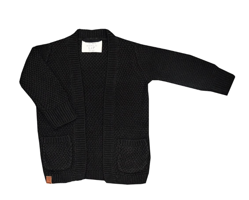 Girls Chunky Black Knit Cardigan