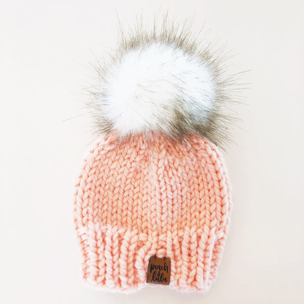 Peach Pink Knit Pom Toque