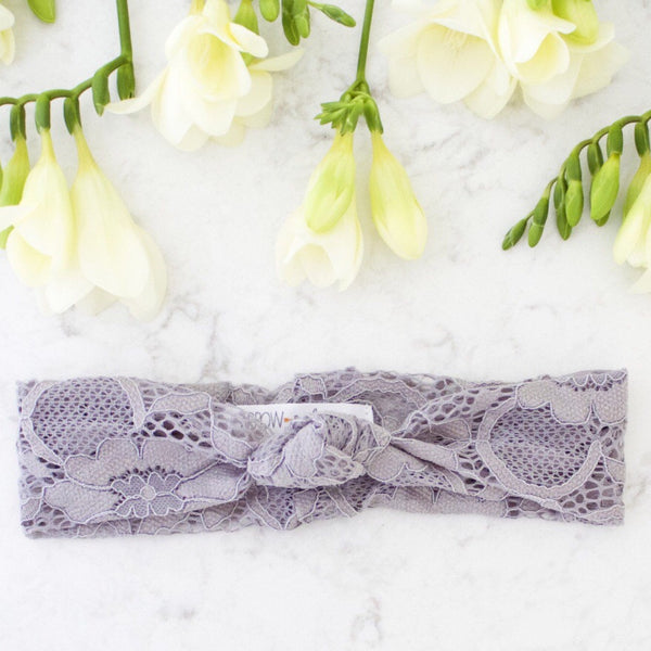 Grey Grace Lace Headband