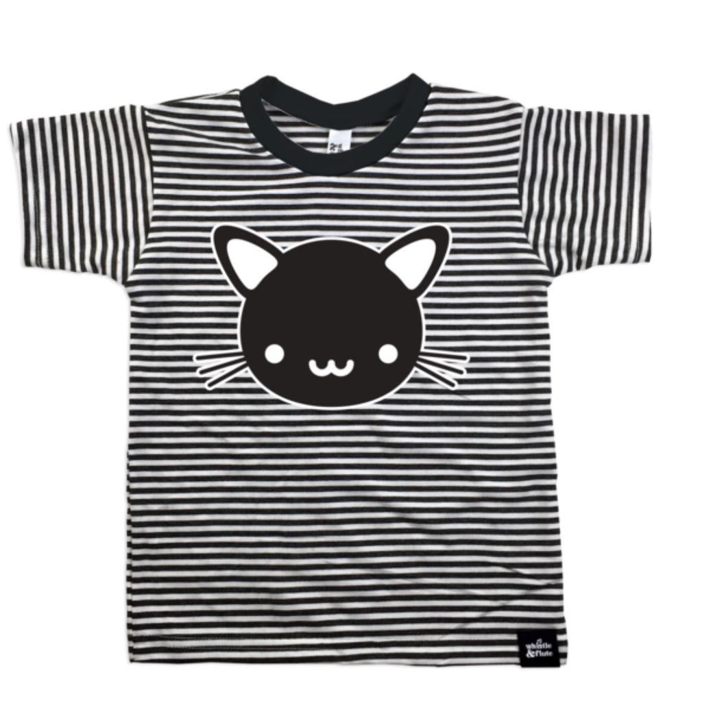 Striped Cat Tee - Little Bean + Co