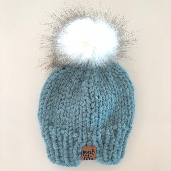 Blue Knit Pom Toque