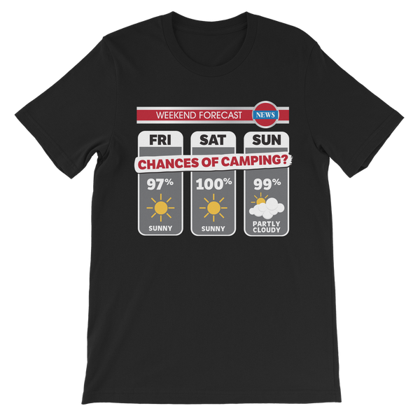 Weekend Weather Sunny With a Chance of Camping? Premium Kids T-Shirt