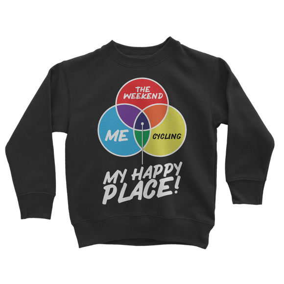 Cycling is My Happy Place Classic Kids Sweatshirt