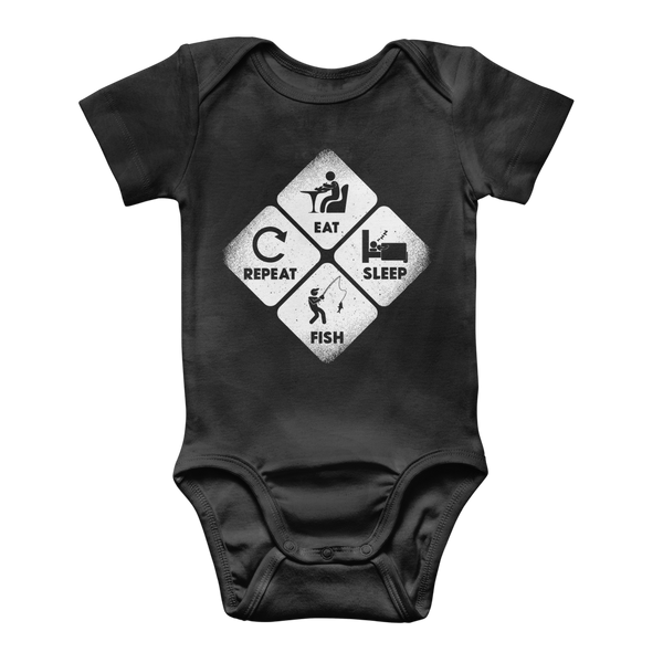 Eat, Sleep, Fish, Repeat Classic Baby Onesie Bodysuit