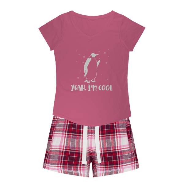 Yeah, Am Cool - Penguin Girls Sleepy Tee and Flannel Short