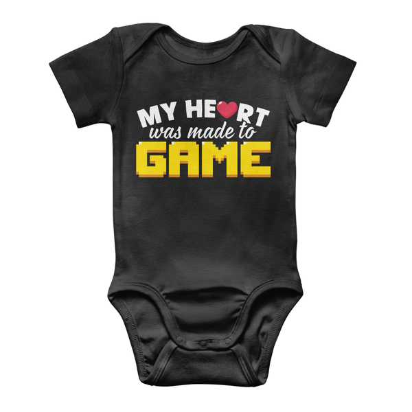 My Heart Was Made To Game Classic Baby Onesie Bodysuit