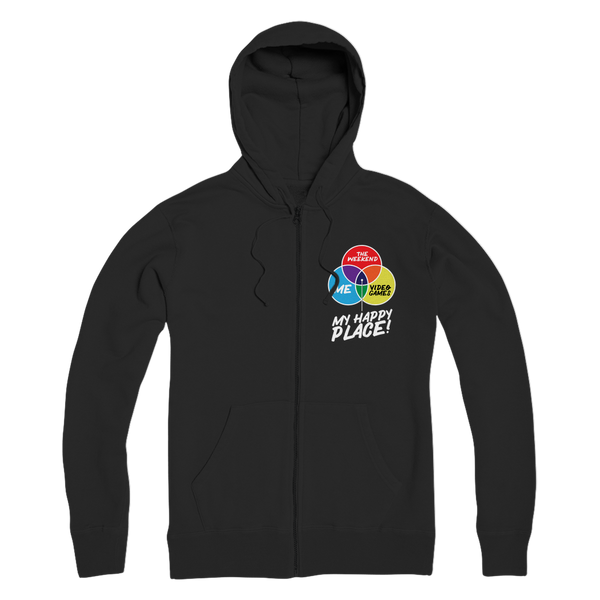 Video Games is My Happy Place Premium Adult Zip Hoodie