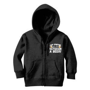 Can Someone Get This Veteran a Beer! Classic Kids Zip Hoodie