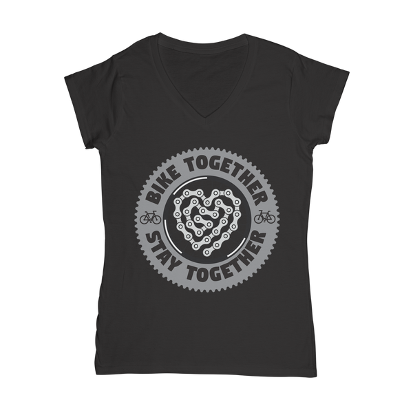 Bike Together Stay Together Classic Women's V-Neck T-Shirt