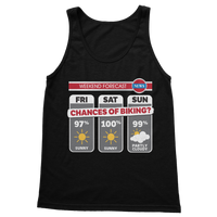 Weekend Weather Sunny With a Chance of Biking? Classic Adult Tank Top
