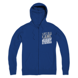 Life is a Game Rugby is Serious Premium Adult Zip Hoodie