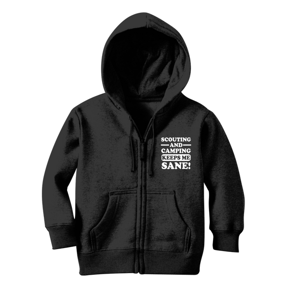 Scouting And Camping Keeps Me Sane Classic Kids Zip Hoodie