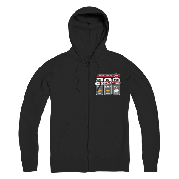Weekend Weather Sunny With a Chance of Bowling? Premium Adult Zip Hoodie