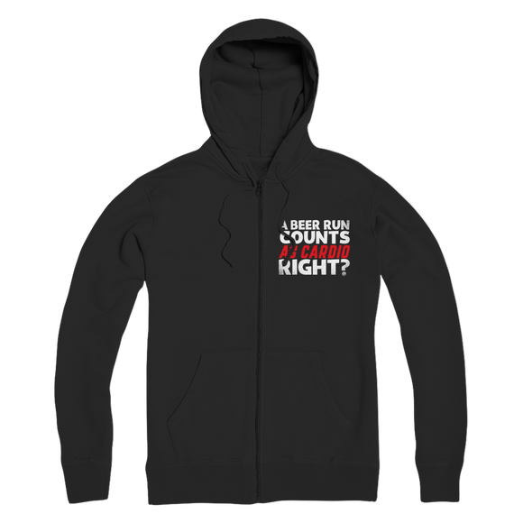 A Beer Run Counts As Cardio Right? Premium Adult Zip Hoodie