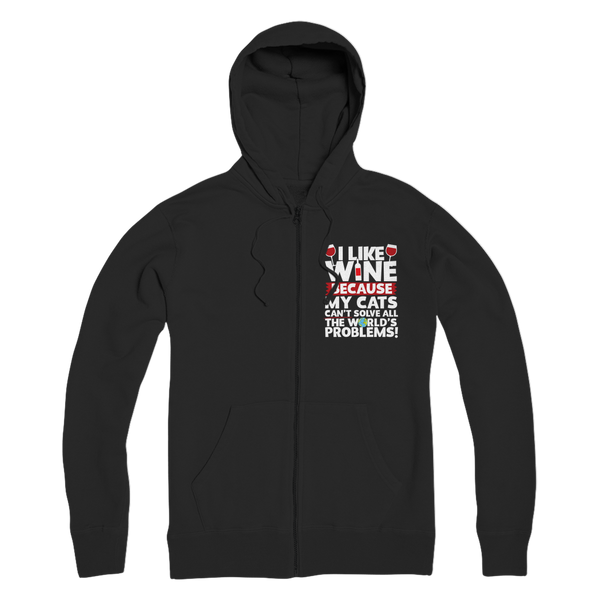 I Like Wine as Cats Can't Solve All The World's Problems! Premium Adult Zip Hoodie
