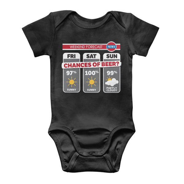 Weekend Weather Sunny With a Chance of Beer? Classic Baby Onesie Bodysuit