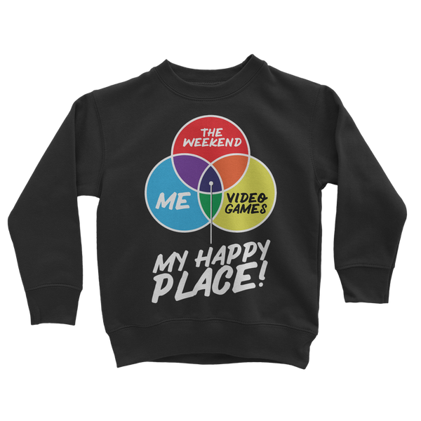 Video Games is My Happy Place Classic Kids Sweatshirt