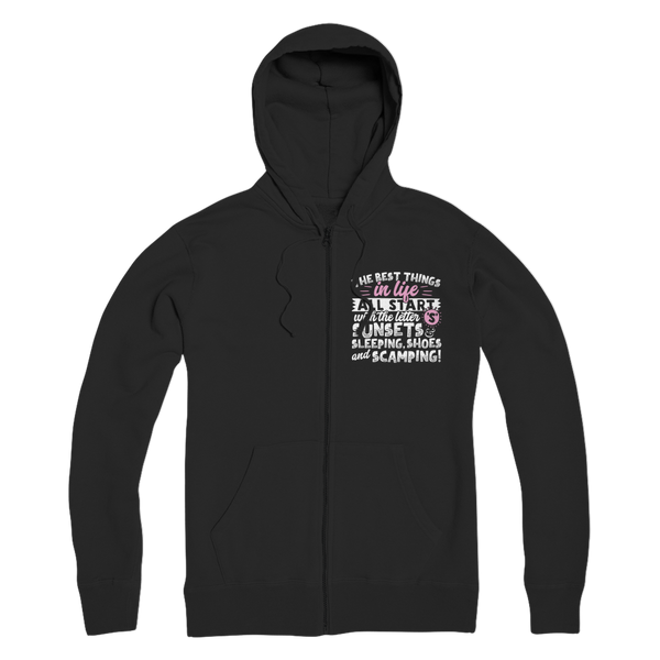 All The Best Things in Life Start With The Letter S - Camping T-Shirt Premium Adult Zip Hoodie