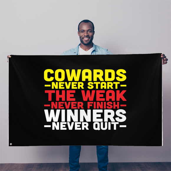 Winners Never Quit Sublimation Flag