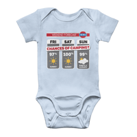 Weekend Weather Sunny With a Chance of Camping? Classic Baby Onesie Bodysuit