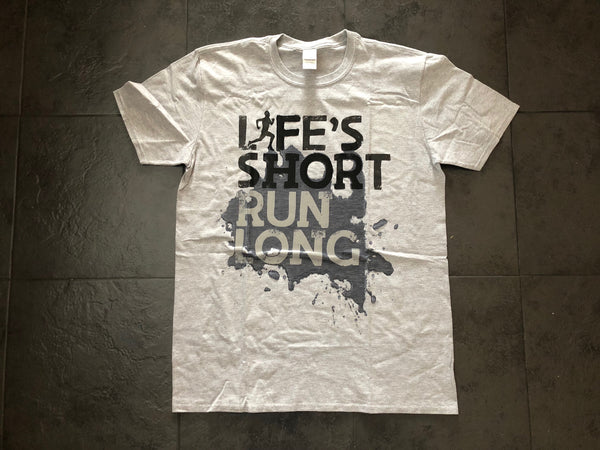 Life's Short Run Long Male Runner Sweat Activated Adult T-Shirt