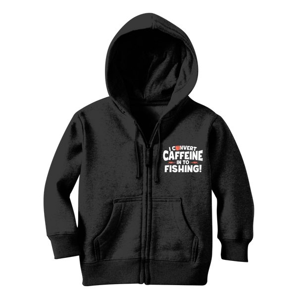 I Convert Caffeine into Fishing Classic Kids Zip Hoodie