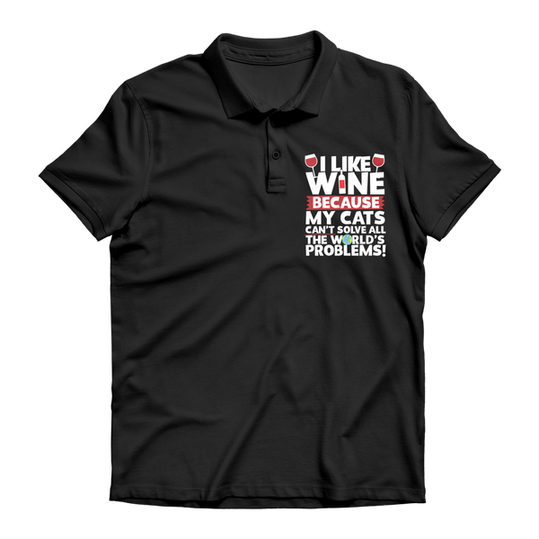 I Like Wine as Cats Can't Solve All The World's Problems! Premium Adult Polo Shirt
