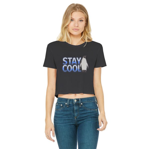 Stay Cool - Penguin Classic Women's Cropped Raw Edge T-Shirt