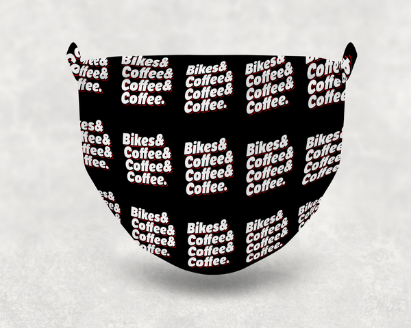 Bikes & Coffee Sublimation Face Mask