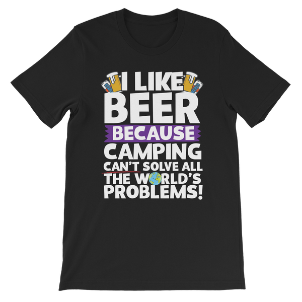 I Like Beer as Camping Can't Solve All The World's Problems! Premium Kids T-Shirt