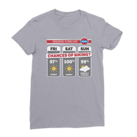 Weekend Weather Sunny With a Chance of Biking? Premium Jersey Women's T-Shirt