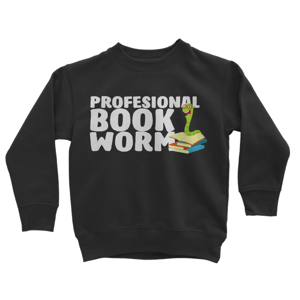 Professional Book Worm Classic Kids Sweatshirt
