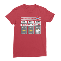 Weekend Weather Sunny With a Chance of Pizza? Classic Women's T-Shirt