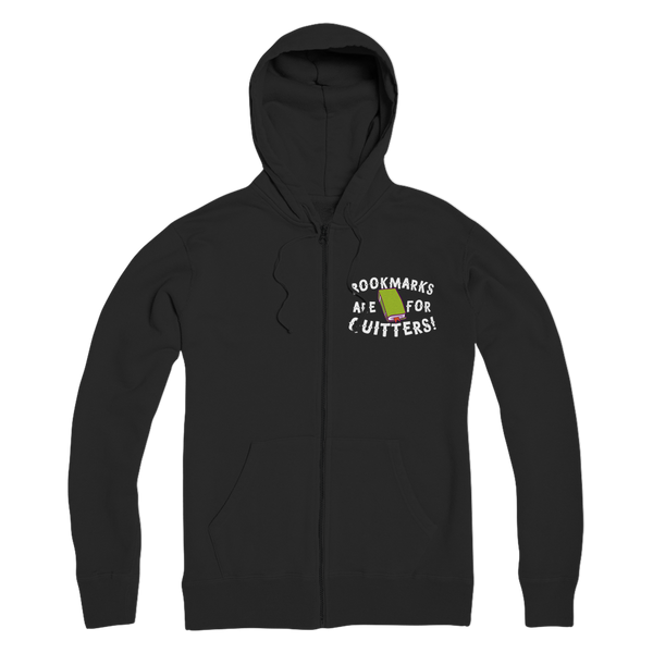 Book Marks are for Quitters! Premium Adult Zip Hoodie