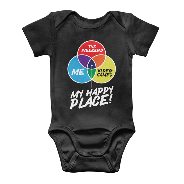 Video Games is My Happy Place Classic Baby Onesie Bodysuit