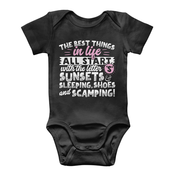All The Best Things in Life Start With The Letter S - Camping T-Shirt Classic Baby Onesie Bodysuit