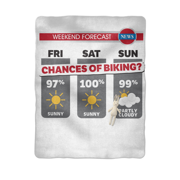 Weekend Weather Sunny With a Chance of Biking? Sublimation Baby Blanket