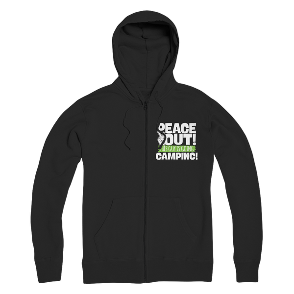 Peace Out This Guy is Going Camping! Premium Adult Zip Hoodie