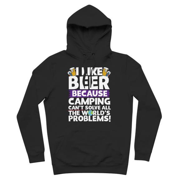 I Like Beer as Camping Can't Solve All The World's Problems! Premium Adult Hoodie