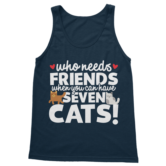 Who Needs Friends When You Can Have Seven Cats! Softstyle Tank Top - Challenge The Norm