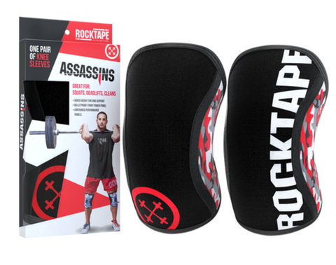 rocktape, knee sleeves, assassins knee sleeves, weightlifting sleeves, athletic protective gear, athletic protection, knee braces,  knee sleeves
