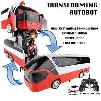 Red Robot Remote Control Bus Transforming Autobot - On My Wheels