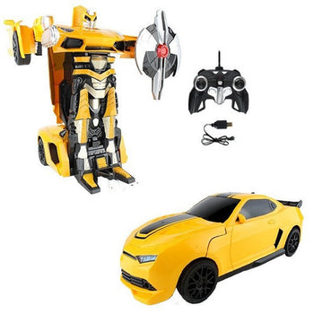 Yellow Remote Controle Camaro Car Robot Transforming Autobot - On My Wheels