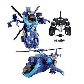 Blue Robot Helicopter Remote Control Toy Transforming Autobot - On My Wheels