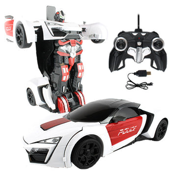Black and White Robot Remote Control Police Car Transforming Autobot