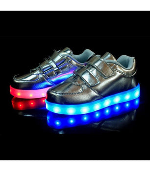 Toddlers Sneakers LED Light Up Shoes USB Charger | Silver - On My Wheels