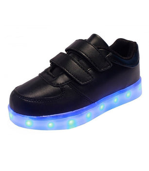 Toddlers Sneakers LED Light Up USB Charging Shoes | Black Low Top - On My Wheels