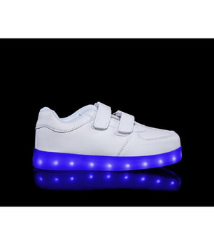 Toddlers Sneakers LED Light Up Shoes Low Top | White - On My Wheels