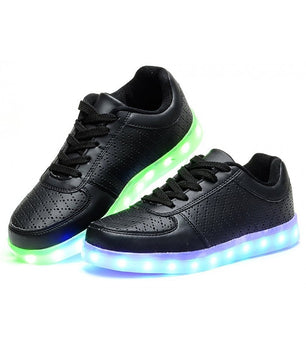 Mens Light Up LED Shoes USB Sneakers With Laces Woven | Black perforated - On My Wheels