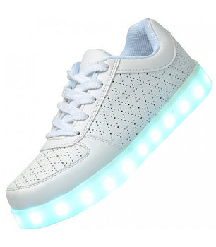 Mens Light Up LED Shoes USB Sneakers With Laces Woven | White perforated - On My Wheels